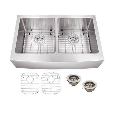 Schon All-in-One Apron Front Stainless steel 33 in. Double Bowl Kitchen Sink