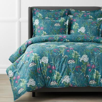 Legends Hotel Botanical Medley Wrinkle-Free Teal Sateen Comforter