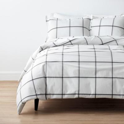Window Pane Plaid Yarn-Dyed Cotton Percale Duvet Cover