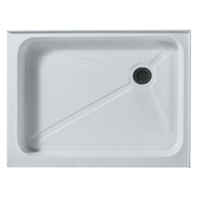 36 in. x 48 in. Rectangular Shower Tray in White with Right Drain Product Photo