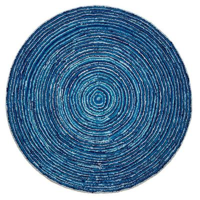 Ripple Blue Skies Blue 8 ft. x 8 ft. Round Area