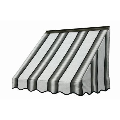NuImage Awnings 3 ft. 3700 Series Fabric Window Awning (28 in. H x 24 in. D) in Grey/Black/White