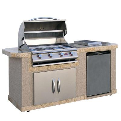 Cal Flame 7 ft. Stucco Grill Island with 4-Burner Stainless Steel Propane Gas Grill