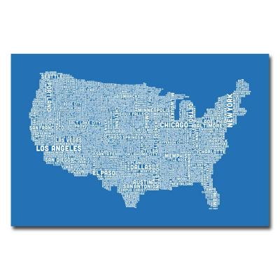 30 in. x 47 in. US City Map XIII Canvas Art
