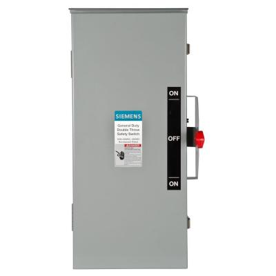 General Duty Double Throw 100 Amp 240-Volt 3-Pole Outdoor Non-Fusible Safety Switch Product Photo