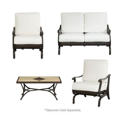 Pembrey 4-Piece All-Weather Wicker Patio Conversation Set with Cushion Insert