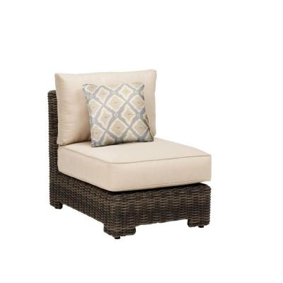 Northshore Middle Armless Patio Sectional Chair with Sparrow Cushion and Bazaar