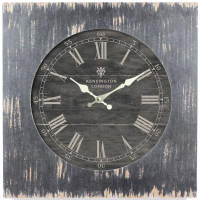 Yosemite Home Decor 19 in. Square MDF Wall Clock in Distressed Black Wooden Frame