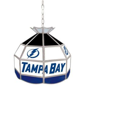 Trademark Global NHL Tampa Bay Lightning 16 in. Stained Glass Tiffany Lamp NHL1600-TBL