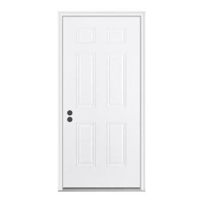 32 in. x 80 in. 6-Panel Primed White Fiberglass Prehung Front Door with Brickmould Product Photo