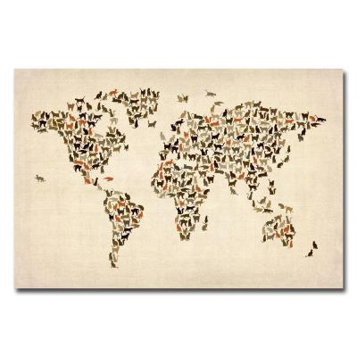null 30 in. x 47 in. World Map of Cats Canvas Wall Art
