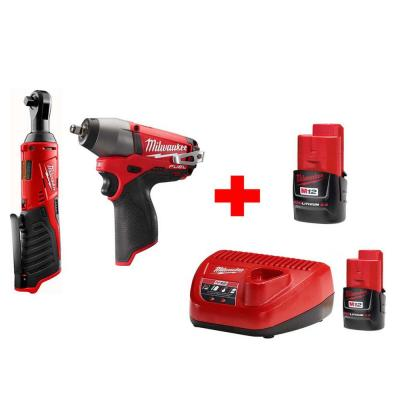 Milwaukee M12 12-Volt Lithium-Ion Cordless 3/8 in. Ratchet and 3/8 in. Impact Wrench Combo Kit (2-Tool)