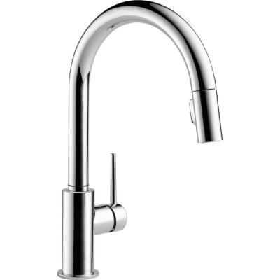 Delta Trinsic Single-Handle Pull-Down Sprayer Kitchen Faucet in Chrome Featuring MagnaTite Docking