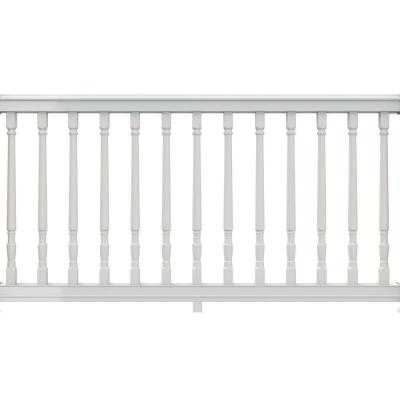 null 6 ft. x 36 in. White Vinyl Premier Stair Rail with Yorktown Spindles