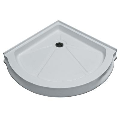 40 in. x 40 in. Single Threshold Round Shower Tray in White Product Photo