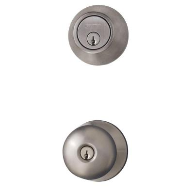 Satin Nickel Entry Knob and Single Cylinder Deadbolt Combo Pack