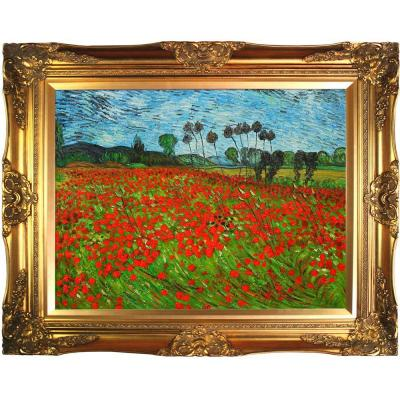 30 in. x 40 in. Field of Poppies Hand Painted Classic