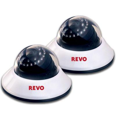 Revo 600 TVL Indoor Dome Surveillance Cameras with BNC Conversion Kits (2-Pack)