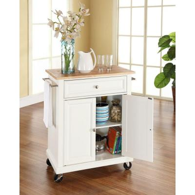 28-1/4 in. W Natural Wood Top Mobile Kitchen Island Cart in