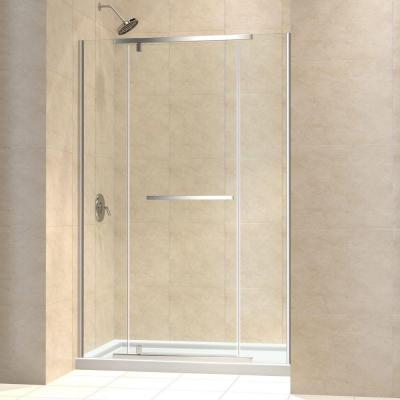 Vitreo-X 30 in. x 60 in. x 74.75 in. Semi-Framed Pivot Shower Door in Chrome with Center Drain White Acrylic Base Product Photo