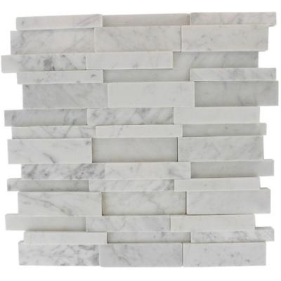 Dimension 3D Brick White Carrera Stone 12 in. x 12 in.