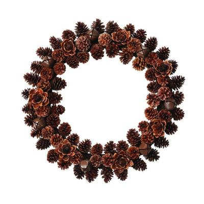 Home Decorators Collection 26 in. Pine Cone/Wood Flower Artificial Christmas Bell Wreath