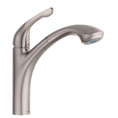Allegro E Lowrider Single-Handle Pull-Out Sprayer Kitchen Faucet in Steel Optik Product Photo