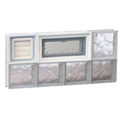 Frameless Wave Pattern Vented Glass Block Window with Dryer Vent
