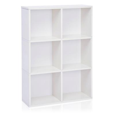 Way Basics Tribeca 32.1 in. L x 44.8 in. H White zBoard, Eco Friendly, Tool-Free Assembly, Stackable 6-Cube Organizer