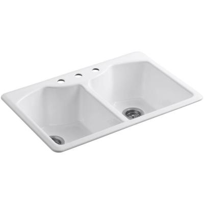 Bellegrove Top Mount Cast-Iron 33 in. 3-Hole Double Bowl Kitchen Sink