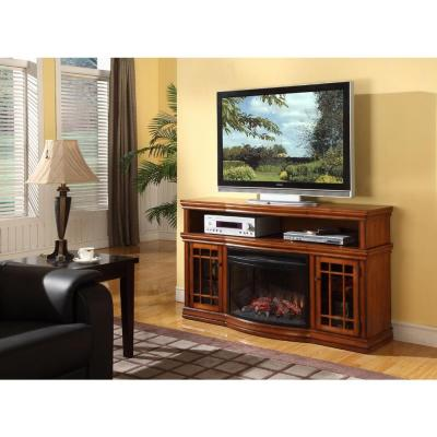 Muskoka Dwyer 57 in. Media Console Electric Fireplace in Burnished Pecan-DISCONTINUED