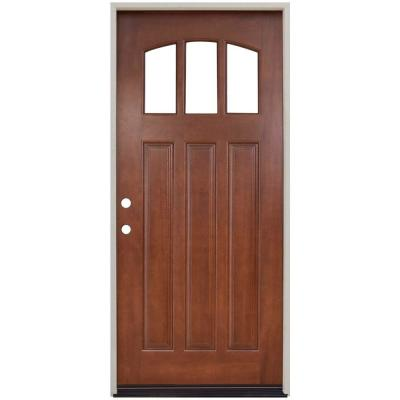 36 in. x 80 in. Craftsman 3 Lite Arch Stained Mahogany Wood Prehung Front Door Product Photo