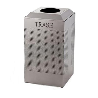 Silhouette 29 Gal. Silver Square Trash Can