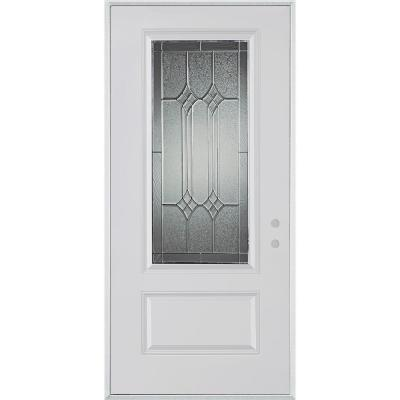 36 in. x 80 in. Orleans Patina 3/4 Lite 1-Panel Prefinished White Right-Hand Inswing Steel Prehung Front Door Product Photo