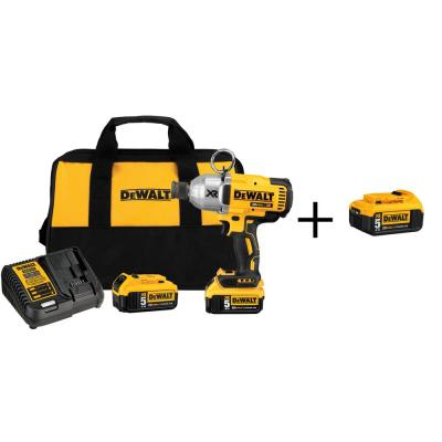 DEWALT 20-Volt MAX XR Lithium-Ion Cordless Brushless High Torque 7/16 in. Impact Wrench w/ Batteries 5Ah and Bonus Battery 5Ah