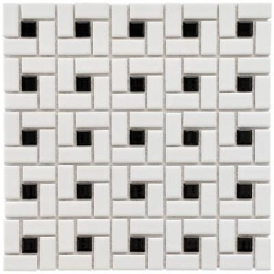 Merola Tile Spiral Black and White 12-1/2 in. x 12-1/2 in. x 6 mm Porcelain Mosaic Tile (11.1 sq. ft. / case)