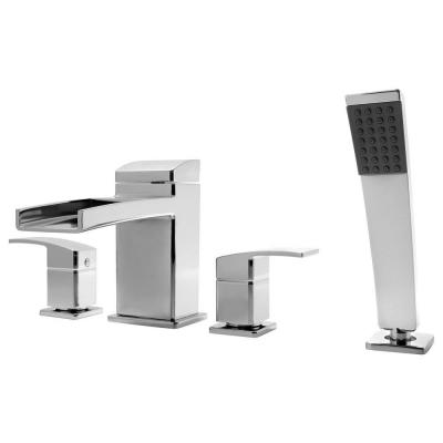 Pfister Kenzo 2-Handle Deck Mount Roman Tub Faucet Trim Kit with Handshower in Polished Chrome (Valve Not Included)