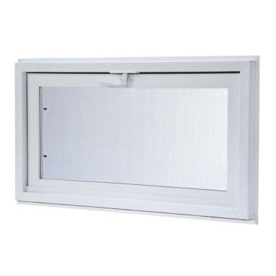 Vinyl Hopper Basement Window with Dual Pane Insulated Glass - White