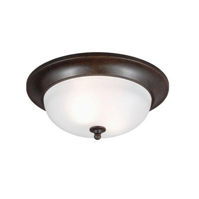 Sea Gull Lighting Humboldt Park 2-Light Outdoor Burled Iron Ceiling Flush Mount with Satin Etched Glass