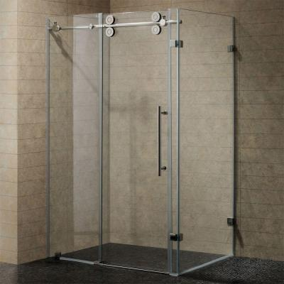 Winslow 57.75 in. x 74 in. Frameless Bypass Shower Enclosure in Chrome with Clear Glass Product Photo