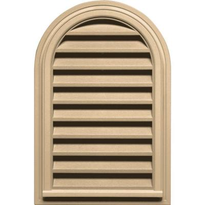 Builders Edge 22 in. x 32 in. Round Top Gable Vent in Sandstone Maple