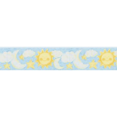 6 in. Celestial Light Blue Moon and Stars Border Product Photo
