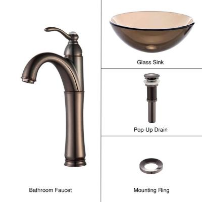 KRAUS Glass Vessel Sink in Clear Brown with Single Hole Single Handle High-Arc Riviera Faucet in Oil Rubbed Bronze