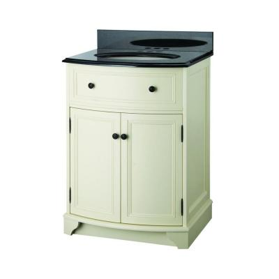 Foremost Arcadia 25-1/8 in. Vanity in Vanilla Cream with Vanity Top in Black Granite and Sink in Biscuit