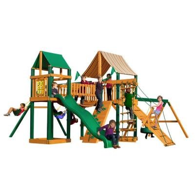 Gorilla Playsets Pioneer Peak with Timber Shield and Sunbrella Weston Ginger Canopy Cedar Playset
