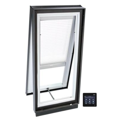 22-1/2 in. x 22-1/2 in. Solar Powered Venting Curb-Mount Skylight w/ Laminated Low-E3 Glass White Light Filtering Blind Product Photo