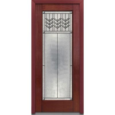 36 in. x 80 in. Prairie Bevel Decorative Glass Full Lite Finished Mahogany Fiberglass Prehung Front Door Product Photo