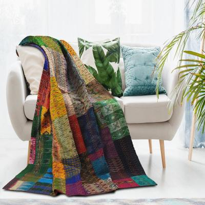 Patchwork Kantha Throw Blanket