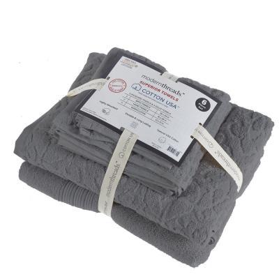 Aura 6-Piece Jacquard Cotton Towel Set