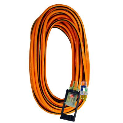 Tasco 100 ft.14/3 SJTW Outdoor Extension Cord with E-Zee Lock and Lighted End - Orange with Black Stripe